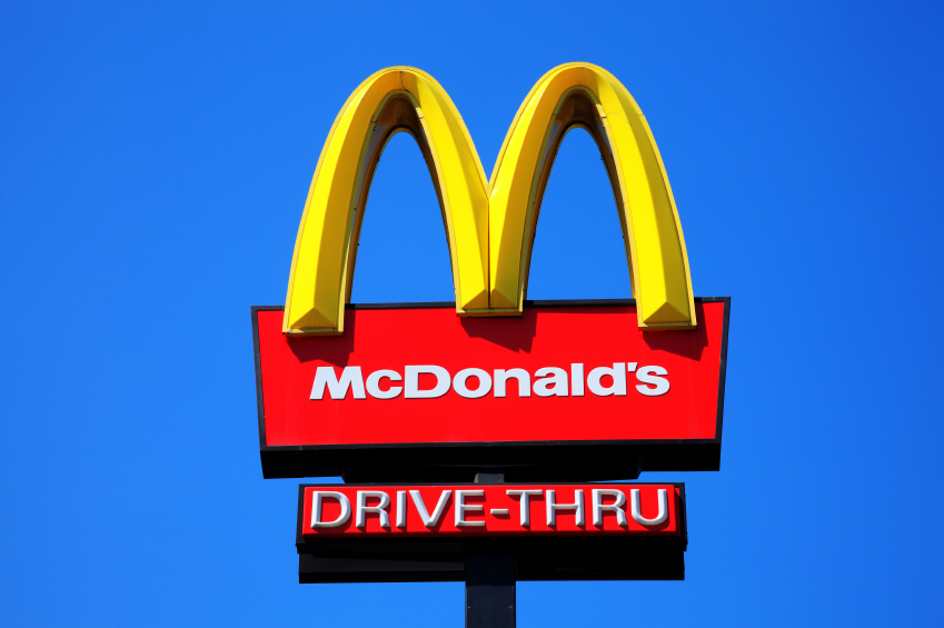 McDonald#s drive thru sign