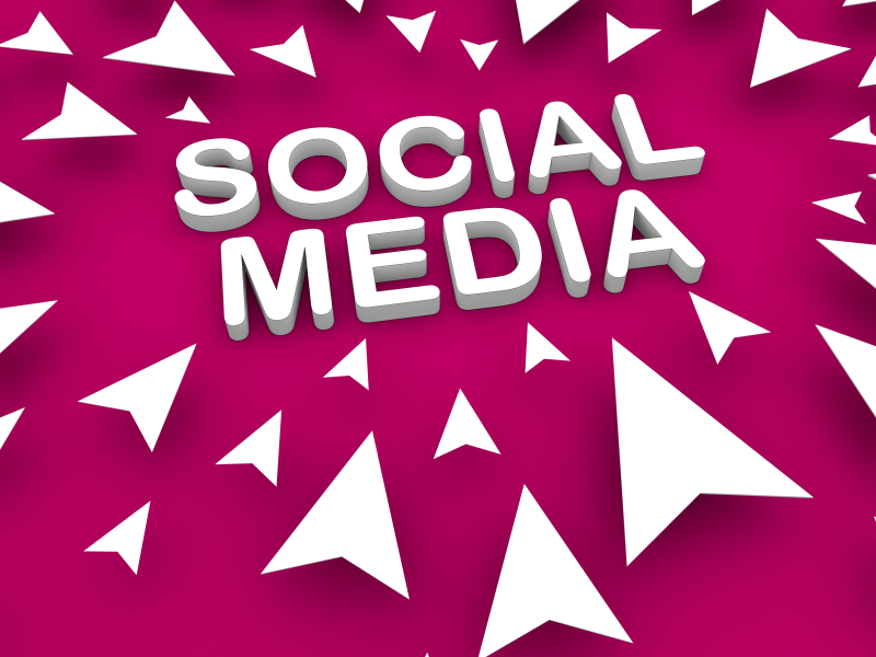 Social media text on a purple background