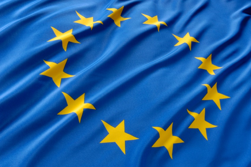 The European flag, blue with 12 stars
