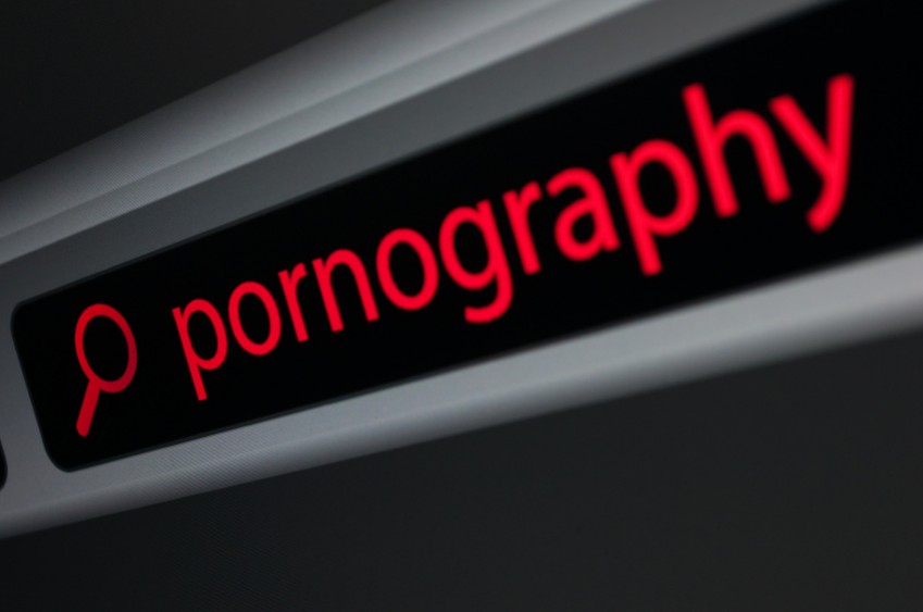 red pornography in a black toolbar