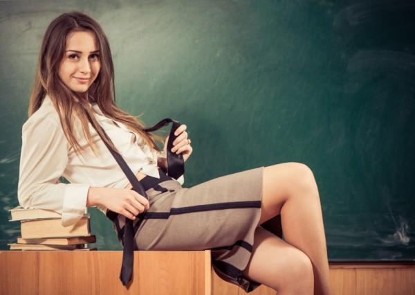 teacher on desk