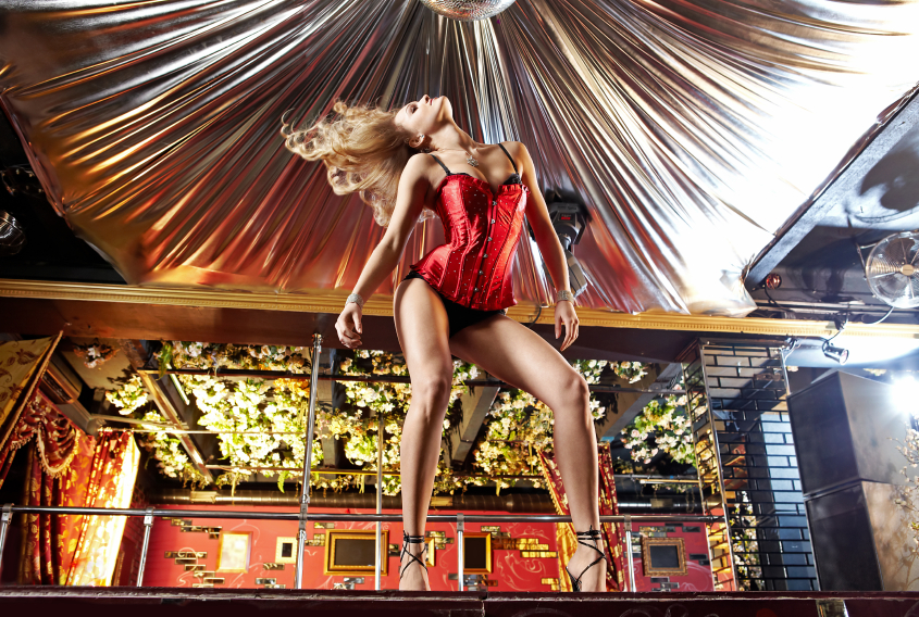 Stripper dancing on a stage