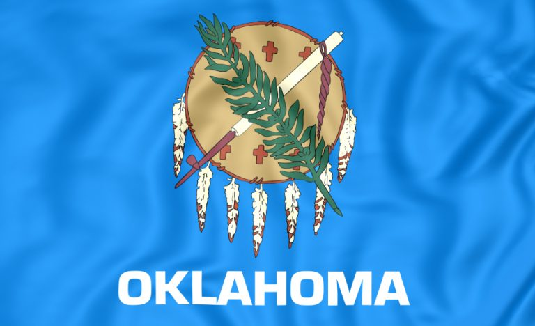 3D Flag of Oklahoma, USA. Close Up.