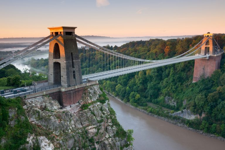 View of Clifton Suspension Bridge with river below
