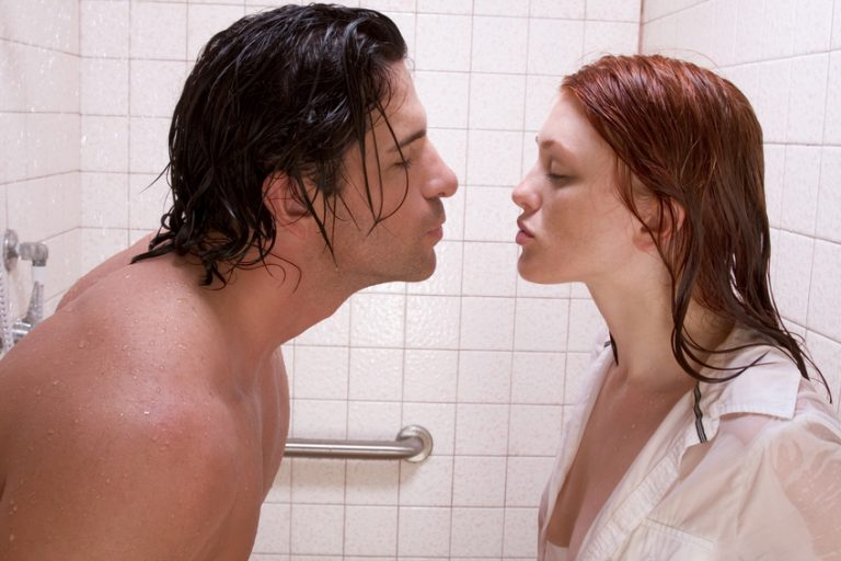 Naked men and women shower sex