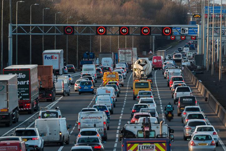 Traffic jam on British motorway