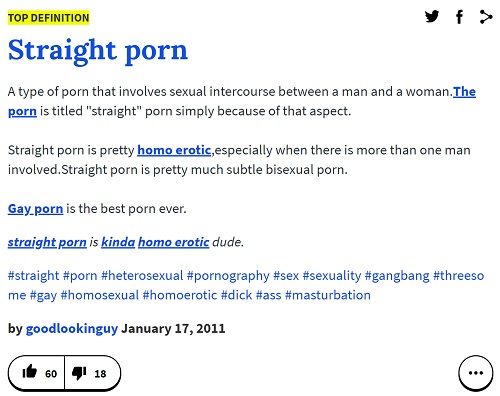 Urban Dictionary's definition of 'straight porn'