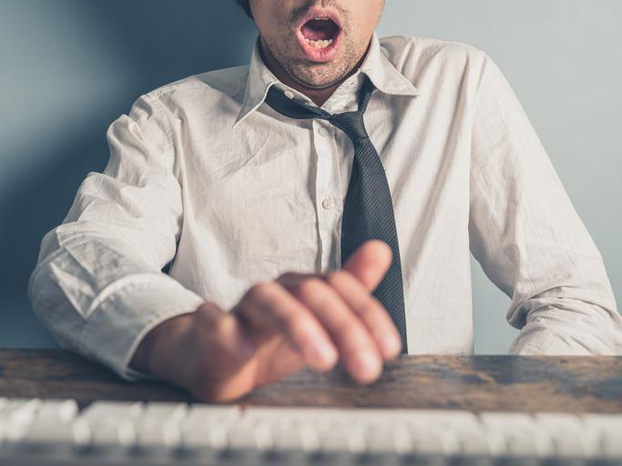 man masturbating at his computer