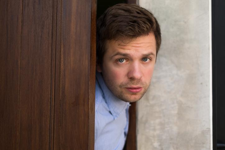 Nervous guy at door
