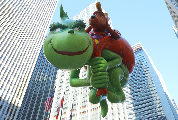 The Grinch balloon will attempt to steal some holiday cheer in his first-ever appearance in the 91st Macys Thanksgiving Day Parade in New York, Nov. 23, 2017. (Photo: Gordon Donovan)