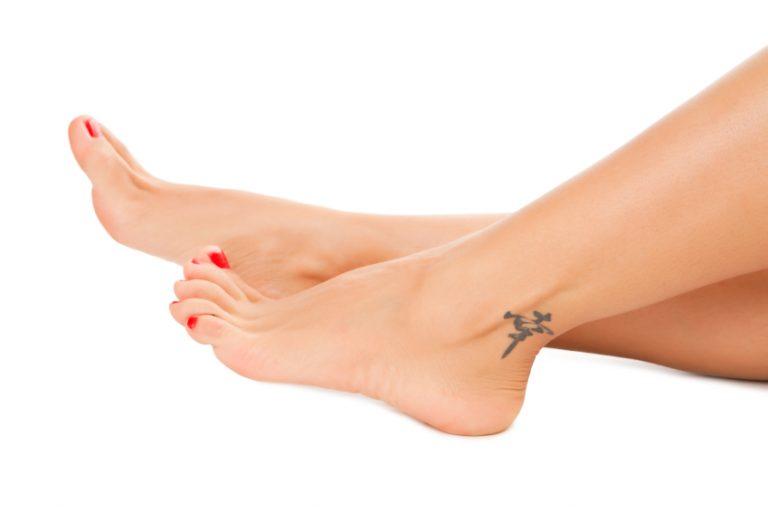 Sexy feet on white background