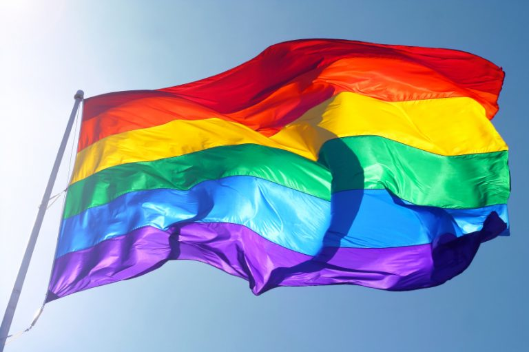 LGBT flag flying in the wind