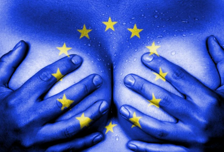 Hands of woman covering her breasts painted in the EU flag