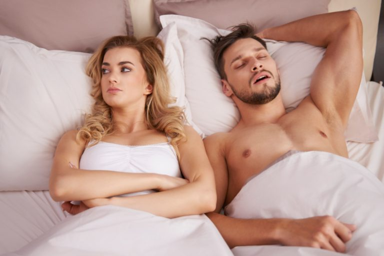 Man finishes before the woman in bed, the woman is left unsatisfied