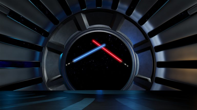 Star Wars scene with two light sabers