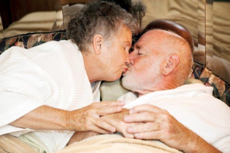 Mature couple sharing a kiss